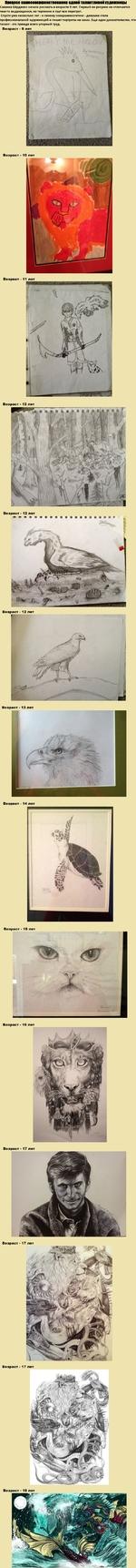 Процесс самосовершенствованиа одной талантливом художницы Саванна Бёрджесс начала рисовать в возрасте 9 лет. Первый ее рисунок не отличается чем-то выдающимся, но терпение и трут все перетрут. Спустя уже несколько лет - к своему совершеннолетию - девушка стала профессиональной художницей и пишет