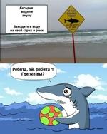 Сегодня видели акулу Заходите в воду на свой страх и риск SHARK SIGHTED TODAY ENTER WATER, AT OWN RISK Ребята, эй, ребята?! Где же вы?
