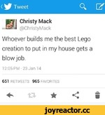 < ^ TweetQ. Uf Pf  Christy Mack r HU @Chri sty Mack Whoever builds me the best Lego creation to put in my house gets a blow job. 12:05 PM-23 Jan 14 651 RETWEETS 965 FAVORITES «*»★<:s