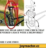 DID YOU HEAR ABOUT THE CHICK THAT ENTERED A RACE WITH A DILDO BIKE?  SHE CAME FIRST