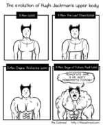 The evolution of Hugh Jackman's upper body X-Men Origins- Wolverine foOCH) |W| X-Men- Days of Future Past faom) The Oatnneal http-//theoatnr\eal.com