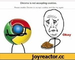 Chrome is not accepting cookies. Please enable Chrome to accept cookies and the try again