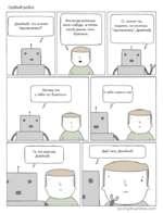 """Грубый робот. Джейкоб, что значит """"припечатать?"""" Это когда унизишь кого-нибудь, а потом такой даешь пять Потому что у тебя нетбратюни. У братюне. О, значит ты, видимо, не можешь """"припечатать"""", Джейкоб. poorlydrawnlines.com"""