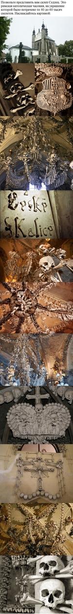 Позвольте представить вам склеп Седлец. Это римская католическая часовня, на украшение которой было потрачено от 40 до 60 тысяч скелетов. Наслаждайтесь картиной: