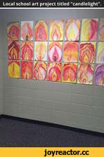 "Local school art project titled ""candlelight""."