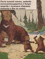 После зимней спячки, медведи акклиматизируются в дикую природу с помощью здорового питания и боя на ножах.