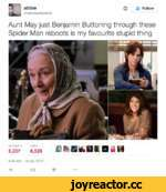 abbie @abbiewastaken ф £* Follow Aunt May just Benjamin Buttoning through these Spider Man reboots is my favourite stupid thing Г2076,529£$ BifcDK BiiN 9:49 AM- 16 Apr 2016 4%ta