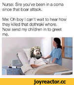 Nurse: Sire you've been in a coma since that boar attack. Me: Oh boy I can't wait to hear how they killed that dothraki whore. Now send my children in to greet me.