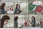 """Так вышло, что библиотекарь Мэри не умела читать Выбирайте: КРАСНАЯ ИЛИ ЗЕЛЕНАЯ? ЗДРАСЬТЕ, МНЕ НУЖНА КНИЖКА Дж. Джойса 1 _ """"Улисс* ..ТОЛСТАЯ ВРОДЕ. По КОЛИЧЕСТВУ ( СТРАНИЦ СОРИЕНТИРУЕТЕ? КРАСНАЯ Возьмите 1 ЛУЧШЕ ЗЕЛЕНУЮ, ВАМ К ГЛАЗАМ БОЛЬШЕ подходит. , ВПРОЧЕМ, КАК И МНОГИЕ ПОСЕТИТЕЛИ"""