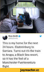 Rory Smith 0 @RorySmith This is my home for the next 24 hours. Ekaterinburg to Samara. Turns out it's the train to Anapa, a Black Sea resort, so it has the feel of a Manchester-Fuerteventura flight.