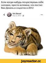 Если когда-нибудь почувствуешь себя неловко, просто вспомни, что постил Вин Дизель в соцсетях в 2012 < Vin Diesel May 9, 2012 • Q