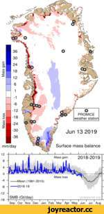 Mass loss Mass gain mm/day ----Mean (1981-2010) ----2018-19 SMB (Gt/day) Jun 13 2019 Surface mass balance Mass gain 2018-2019 Mass loss l-----1----1----1-----1----1----1-----1----1----1-----1---- Sep Oct Nov Dec Jan Feb Mar Apr May Jun Jul Aug