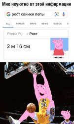 Мне неуютно от этой информации рост свинки пепы к 1 ALL IMAGES MAPS NEWS VIDEOS S Рерра Pig / Рост 2 м 16 см X_J