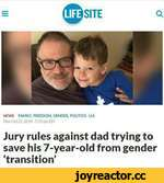 Q I^SITE NEWS FAMILY. FREEDOM. GENDER. POLITICS - U.S. Mon Oct 21.2019 - 5:33 pm EST Jury rules against dad trying to save his 7-year-old from gender 'transition'