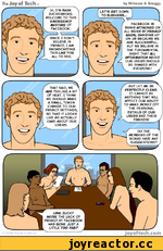 """The Joy of Tech """"M by Nitrozac & Snaggy let's get down to business... facebook is being ATTACKED on all sides ву PRIVACY NAZIS, ganging up on us because we are successful. but we believe in the fundamental RIGHT THAT ALL INFORMATION ABOUT OUR USERS SHOULD BE SHARED WITH EVERyONE W that"""