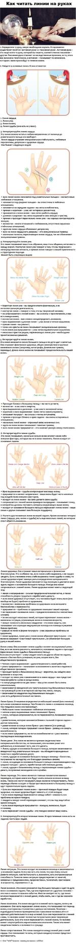 Как читать линии на руках 1 Определите ту руку, какую необходимо изучать. В хиромантии существуют понятия «активная рука» и «пассивная рука». Активная рука -это чаще всего та рука, которой вы пишете, соответственно пассивная -другая Пассивная рука отвечает ва наследственные признаки, за то, что в