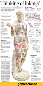 How tattooing went mainstream by Bonni f. Berkowitz It's 1945, and you want a tattoo. You drive to the part of town your mom warned you about, past scruffy bars and burlesque shows, and arrive at a tiny shop offering maybe 200 designs in three or four colors. An ex-sailor who just clocked out of