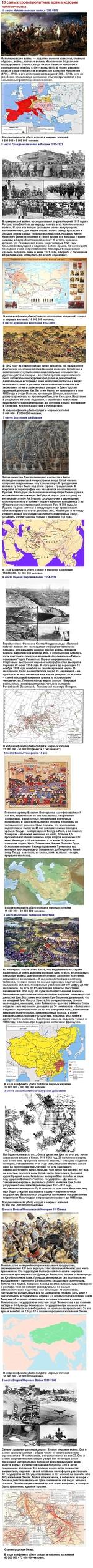 10 самых кровопролитных войн в истории человечества 10 место Наполеоновские войны 1799-1815 Наполеоновские войны — под этим именем известны, главным образом, войны, которые велись Наполеоном I с разными государствами Европы, когда он был Первым консулом и императором (ноябрь 1799 — июнь 1815). В